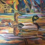 Painting of two ducks on water