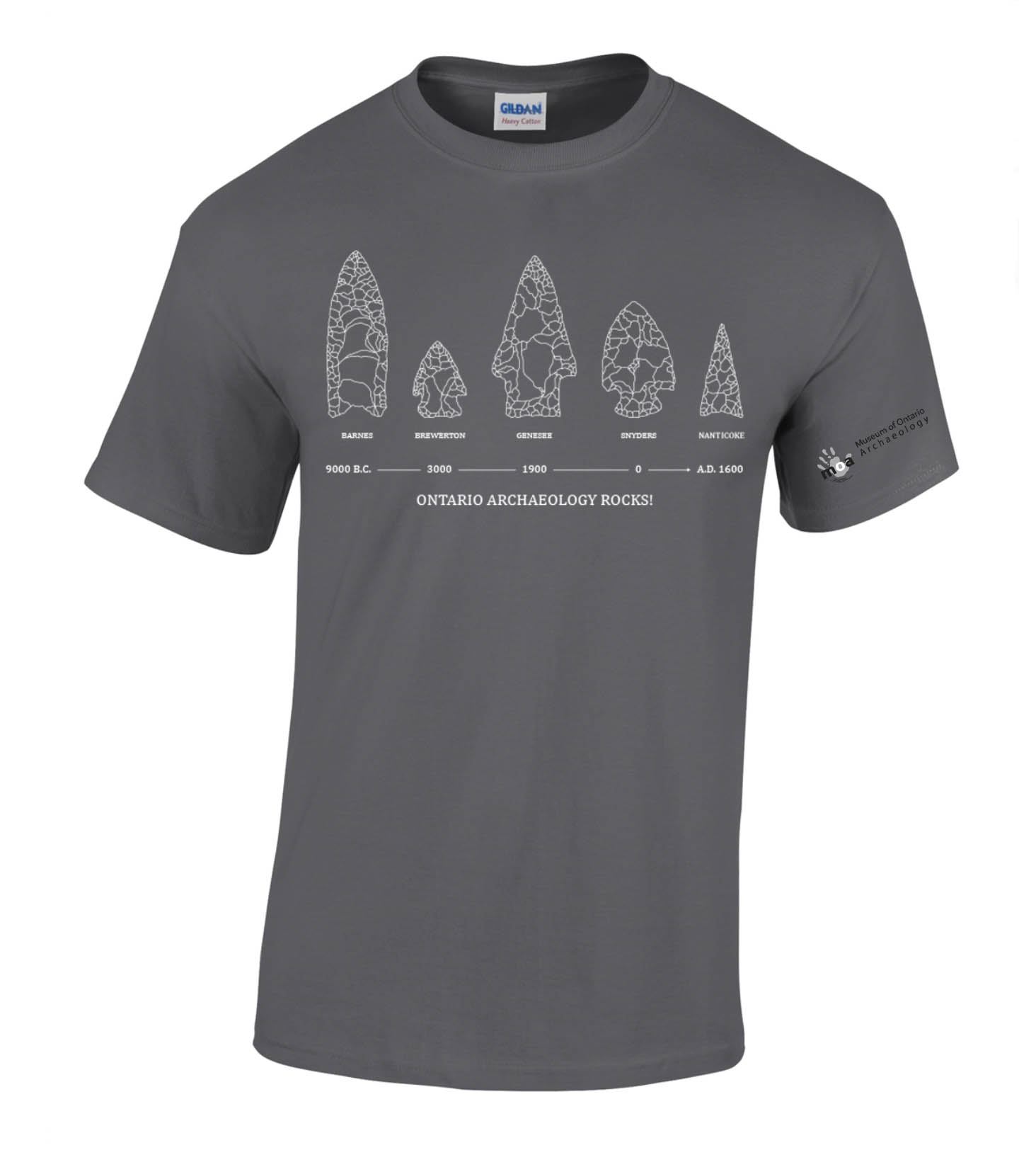 Grey Tshirt featuring five projectile points and the slogan What's the point?