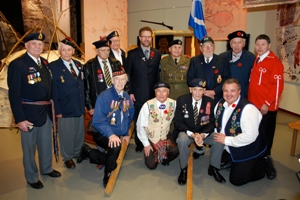 Metis-Canadian WWII Veterans unveiling the Metis Veteran Memorial at Juno Beach, 2009.
