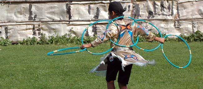 Pow Wow Dancer with Circle Hoops
