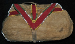 Pouch with decorative beadwork.