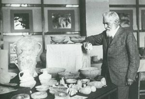 Sir William Flinders Petrie at the Petrie Museum of Egyptian Archaeology, University College London, 1930