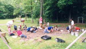 Picture of students learning about archaeology at the Lawson Site.