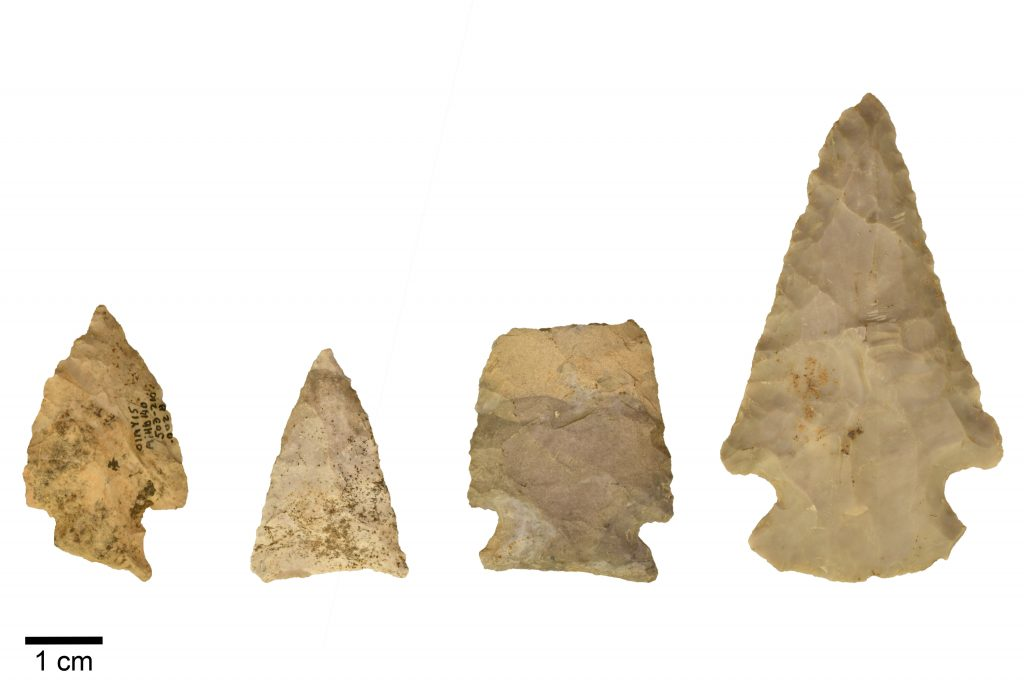 four projectile points of different styles made of a similar grey-brown stone