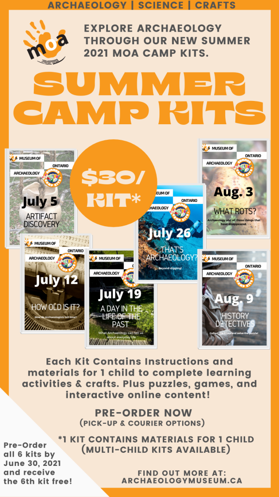 Poster advertising MOA Camp Kits for Summer 2021. $30 per kit (with materials for 1 child) Pre-Order Now!